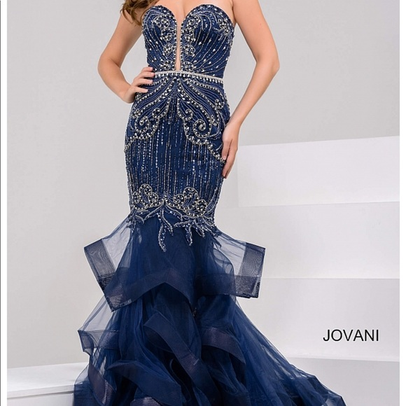 5d651ad5d6400 Jovani Dresses   Navy Embellished Strapless Mermaid Dress   Poshmark